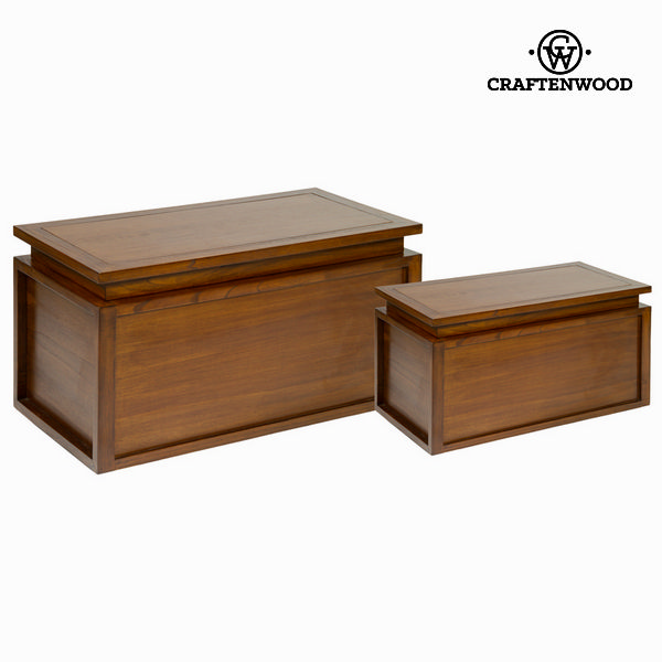 Set of Chests (2 pcs) Mindi wood (85 x 44 x 44 cm) - Let's Deco Collection by Craftenwood