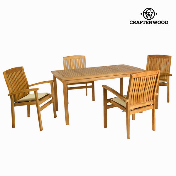 Table set with 4 chairs Teak (150 x 90 x 75 cm) by Craftenwood