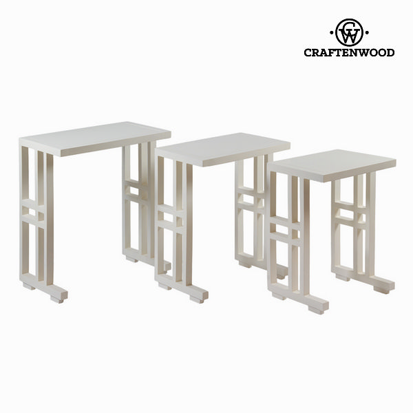 Set of 3 white nest tables - Serious Line Collection by Craftenwood