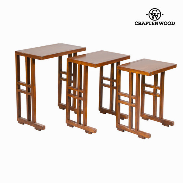 Set of 3 brown nest tables - Serious Line Collection by Craftenwood