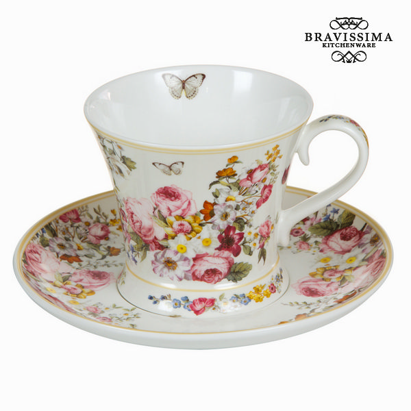 Bloom white cup with saucer - Kitchen's Deco Collection by Bravissima Kitchen
