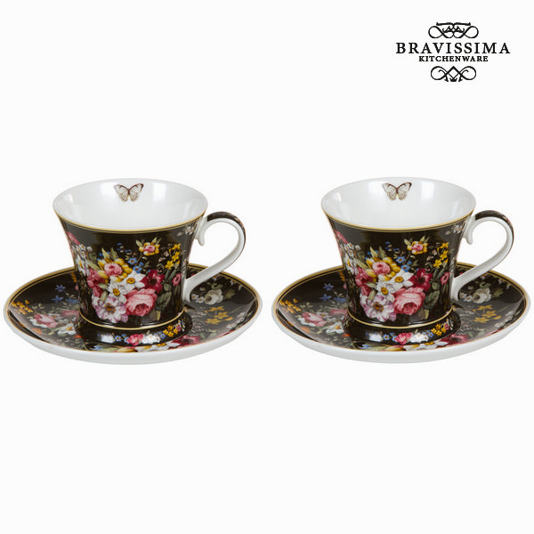 Set of 2 cups with dish bloom black - Kitchen's Deco Collection by Bravissima Kitchen