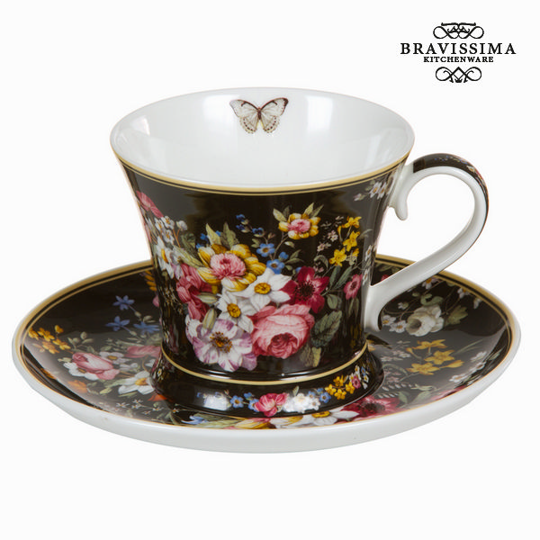 Bloom black cup with saucer - Kitchen's Deco Collection by Bravissima Kitchen