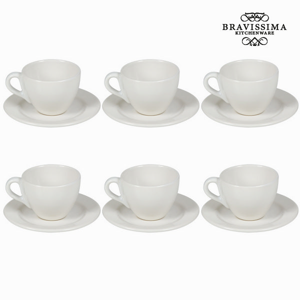 Set of 6 Cups with Plate China crockery - Kitchen's Deco Collection by Bravissima Kitchen
