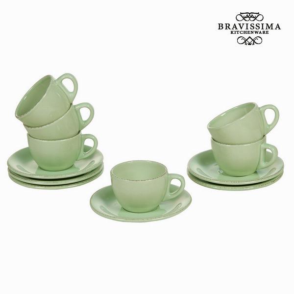 Set of Mugs with Saucers China crockery Green (6 pcs) - Kitchen's Deco Collection by Bravissima Kitchen