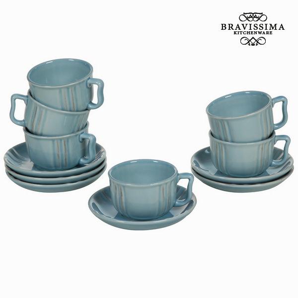 Set of Mugs with Saucers China crockery Blue (6 pcs) - Kitchen's Deco Collection by Bravissima Kitchen