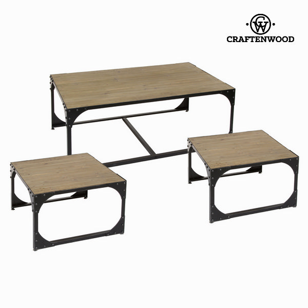 Set of 3 tables Fir wood (120 x 70 x 45 cm) - Thunder Collection by Craftenwood