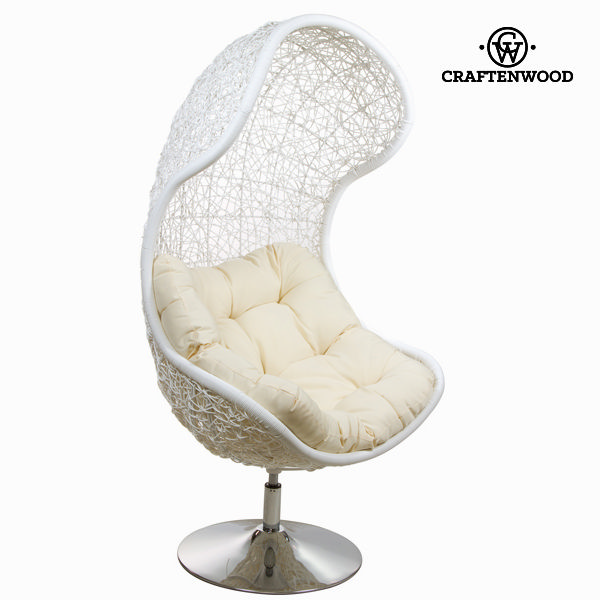 Chair Steel Rattan White (127 x 83 x 74 cm) by Craftenwood