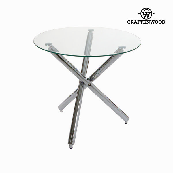Table Circular Stainless steel Tempered glass (90 x 75 x 73 cm by Craftenwood