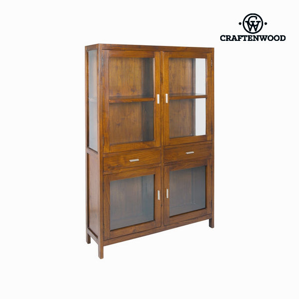 Display Cabinet With Double Glass Doors Craftenwood (180 x 120 x 35 cm) Wood / walnut - Nogal Collection