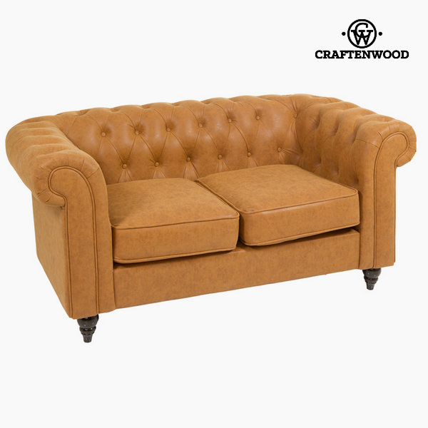 2 Seater Chesterfield Sofa Polyskin Brown (158 x 88 x 72 cm) by Craftenwood