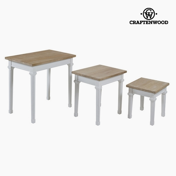 Set of 3 tables Paolownia wood Dm by Craftenwood