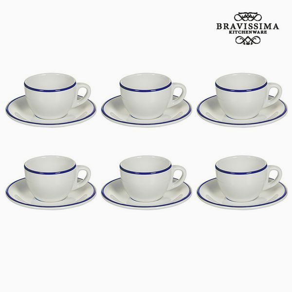 Tea set China crockery White Navy blue (12 pcs) - Kitchen's Deco Collection by Bravissima Kitchen