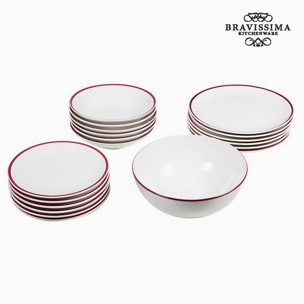 Tableware (19 pcs) White Burgundy - Kitchen's Deco Collection by Bravissima Kitchen