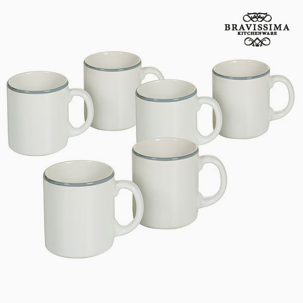 Set of jugs China crockery White Blue (6 pcs) - Kitchen's Deco Collection by Bravissima Kitchen