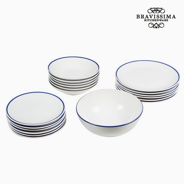 Tableware China crockery White Navy blue (19 pcs) - Kitchen's Deco Collection by Bravissima Kitchen