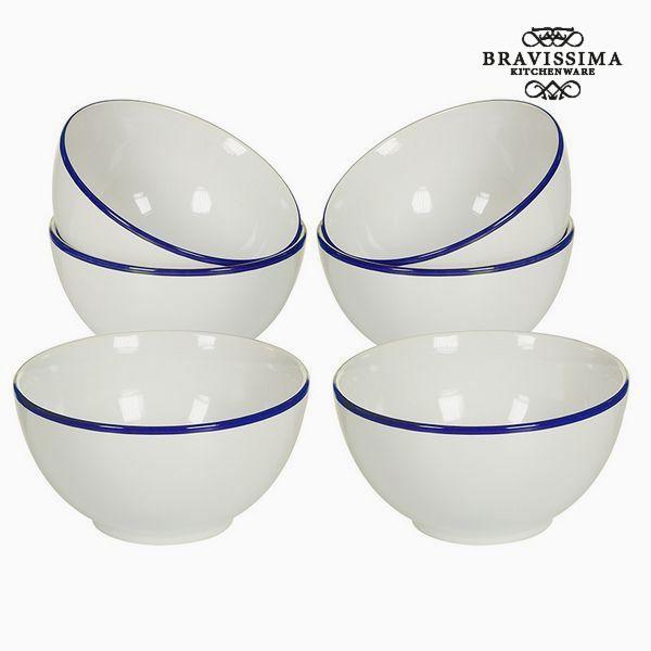Set of bowls China crockery White Navy blue (6 pcs) - Kitchen's Deco Collection by Bravissima Kitchen