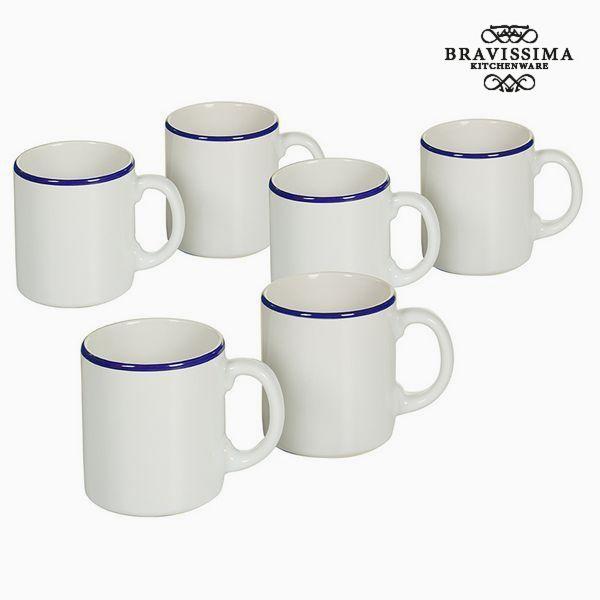 Set of jugs China crockery White Navy blue (6 pcs) - Kitchen's Deco Collection by Bravissima Kitchen
