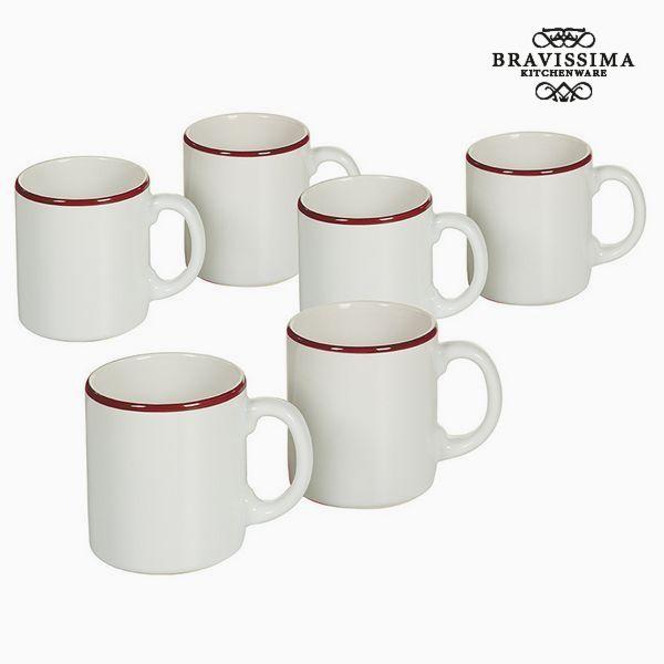 Set of jugs China crockery White Burgundy (6 pcs) - Kitchen's Deco Collection by Bravissima Kitchen