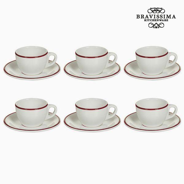 Tea set China crockery White Burgundy (12 pcs) - Kitchen's Deco Collection by Bravissima Kitchen