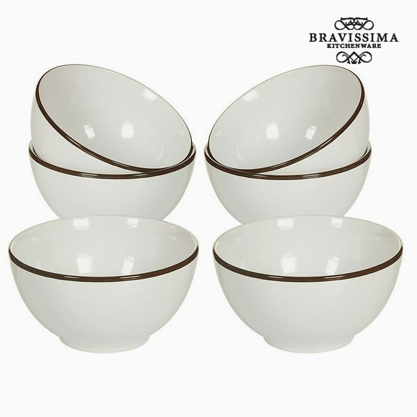 Set of bowls China crockery White Brown (6 pcs) - Kitchen's Deco Collection by Bravissima Kitchen