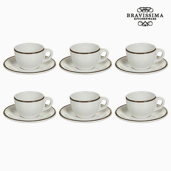 Tea set China crockery White Brown (12 pcs) - Kitchen's Deco Collection by Bravissima Kitchen