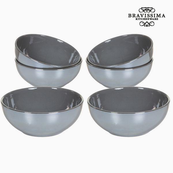 Set of bowls China crockery Grey (6 pcs) - Kitchen's Deco Collection by Bravissima Kitchen