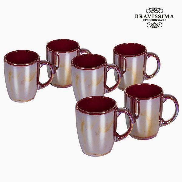 Set of jugs China crockery Burgundy (6 pcs) - Kitchen's Deco Collection by Bravissima Kitchen