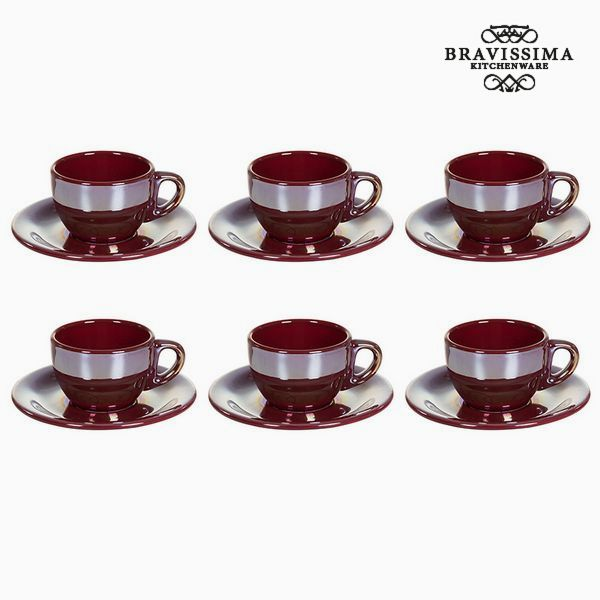 Tea set China crockery Burgundy (12 pcs) - Kitchen's Deco Collection by Bravissima Kitchen