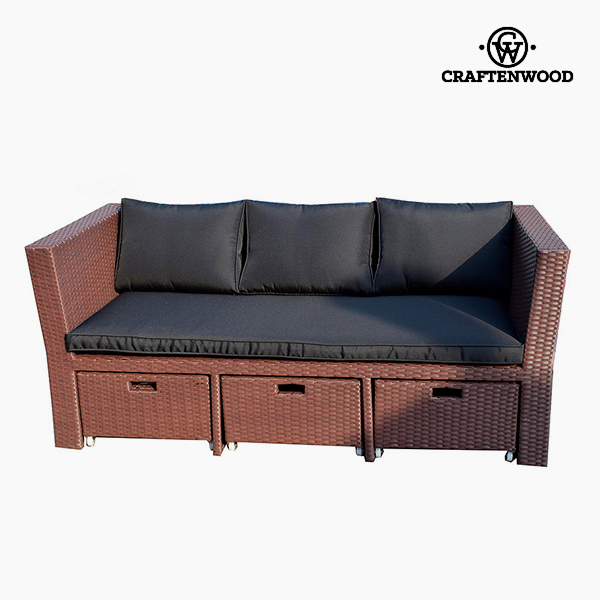 Sofa and Pouf Set (4 pcs) Rattan Brown Black by Craftenwood