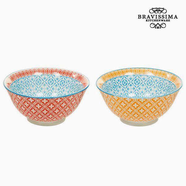 Set of bowls Porcelain Orange Red (2 pcs) - Queen Kitchen Collection by Bravissima Kitchen