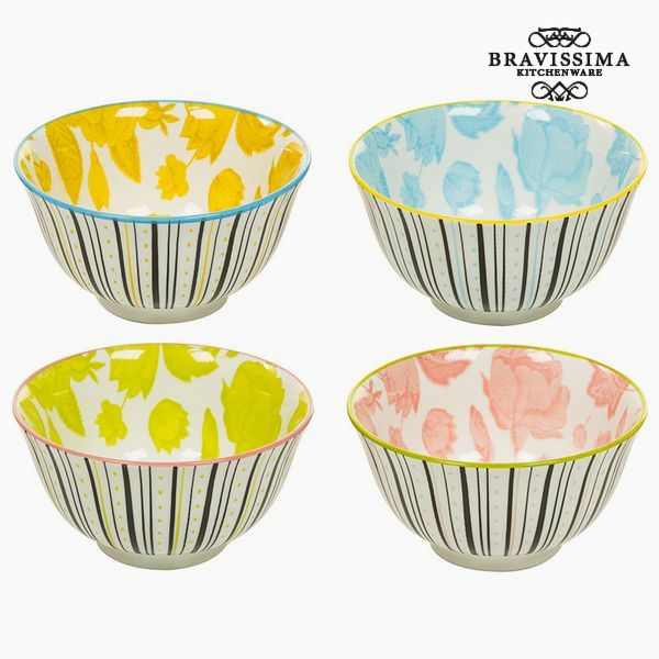 Set of bowls Porcelain Sheets (4 pcs) - Queen Kitchen Collection by Bravissima Kitchen