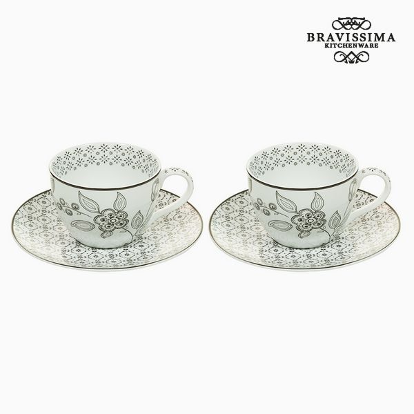 Set of 2 Cups with Plate (13 x 8 x 10 cm) - Queen Kitchen Collection by Bravissima Kitchen