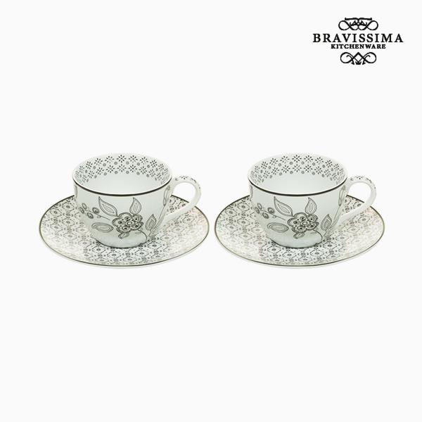 2 Piece Coffee Cup Set Porcelain White Black (2 pcs) by Bravissima Kitchen