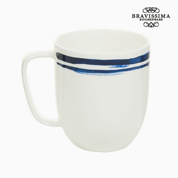 Cup Porcelain Stripes Blue - Kitchen's Deco Collection by Bravissima Kitchen