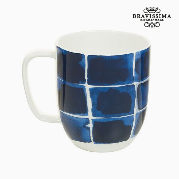 Cup Porcelain Squares Blue - Kitchen's Deco Collection by Bravissima Kitchen