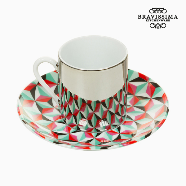 Cup with Plate Magic Porcelain Green Red - Kitchen's Deco Collection by Bravissima Kitchen