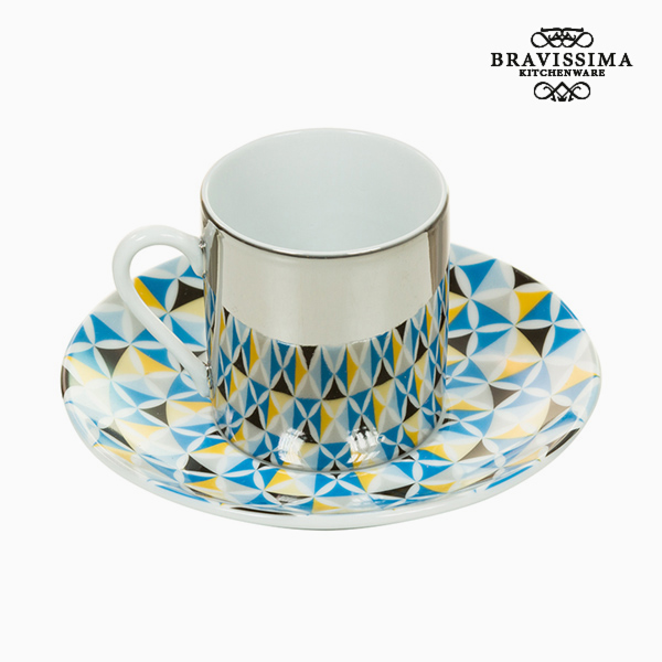 Cup with Plate Magic Porcelain Blue Grey - Kitchen's Deco Collection by Bravissima Kitchen