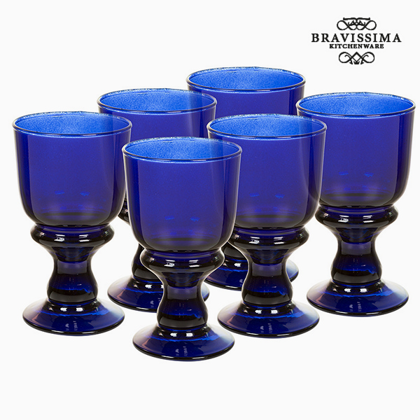 Recycled Wine Glasses (6 pcs) 250 ml Blue - Crystal Colours Kitchen Collection by Bravissima Kitchen