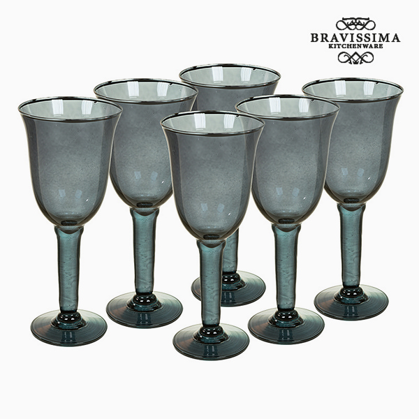 Recycled Wine Glasses (6 pcs) 500 ml Grey - Crystal Colours Kitchen Collection by Bravissima Kitchen