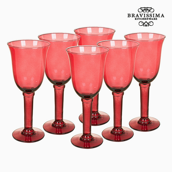 Recycled Wine Glasses (6 pcs) 500 ml Burgundy - Crystal Colours Kitchen Collection by Bravissima Kitchen