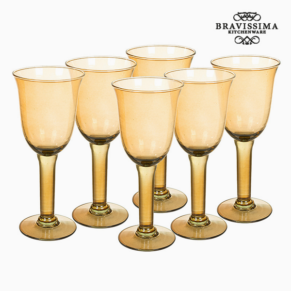 Recycled Wine Glasses (6 pcs) 350 ml Yellow - Crystal Colours Kitchen Collection by Bravissima Kitchen