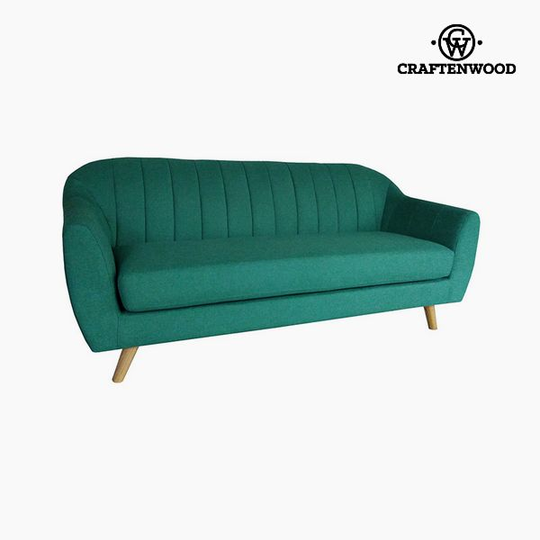 3-Seater Sofa Pine Polyester Green (195 x 83 x 83 cm) by Craftenwood