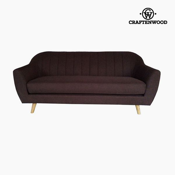 3-Seater Sofa Pine Polyester Brown (195 x 83 x 83 cm) by Craftenwood