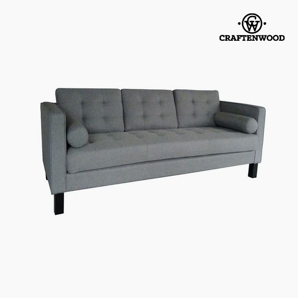 2-Seater Sofa Pine Polyester Grey (203 x 81 x 81 cm) by Craftenwood