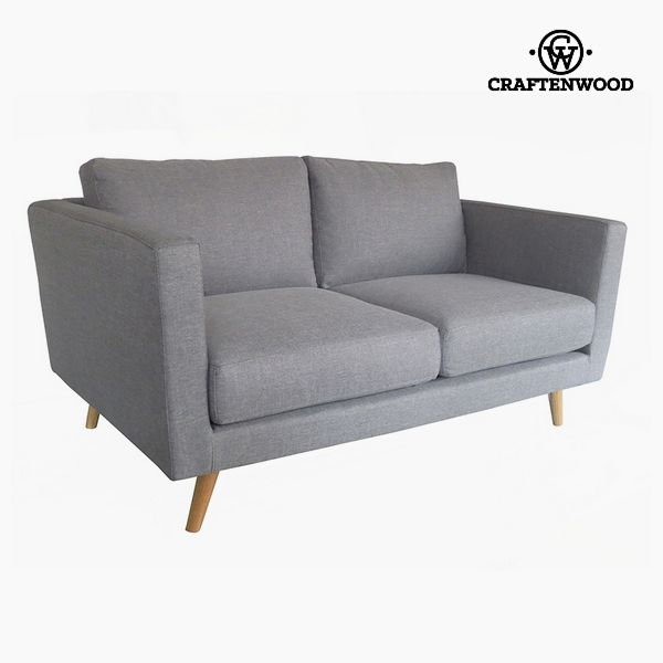 2-Seater Sofa Pine Velvet Grey (148 x 88 x 83 cm) by Craftenwood