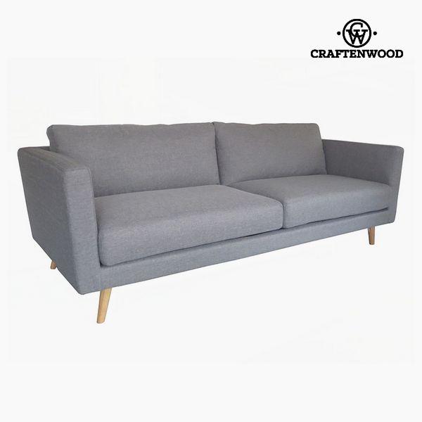 3-Seater Sofa Pine Velvet Grey (211 x 88 x 83 cm) by Craftenwood
