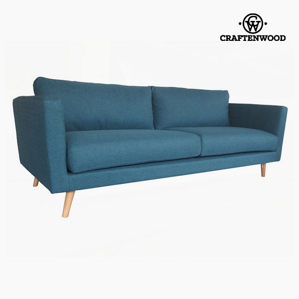 3-Seater Sofa Pine Polyester Blue (211 x 88 x 83 cm) by Craftenwood