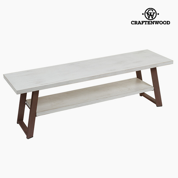 Television Table Pine White Brown (140 x 40 x 45 cm) by Craftenwood