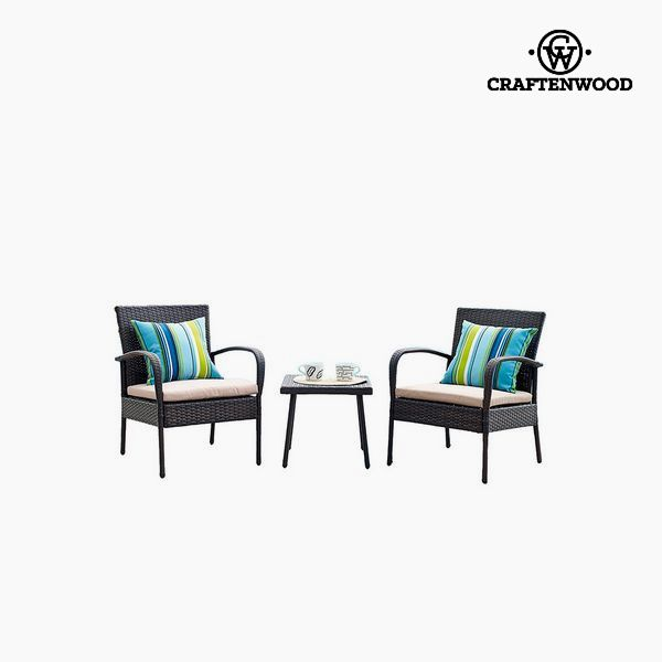 Table Set with 2 Armchairs (3 pcs) by Craftenwood